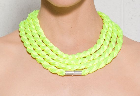 Extra long necklace - Neon necklace - Yellow rope necklace - Statement necklace - Satin cord necklace - Textile necklace