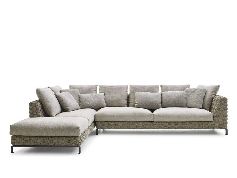 RAY OUTDOOR NATURAL Sofa mit Récamiere Kollektion Ray Outdoor by BB