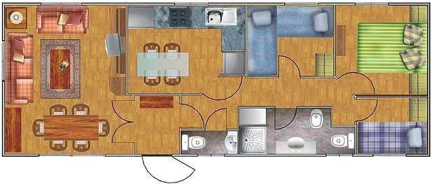 Planos de casas de 52 60m2 con 3 dormitorios planos de for Decoracion de casas de 36 metros cuadrados