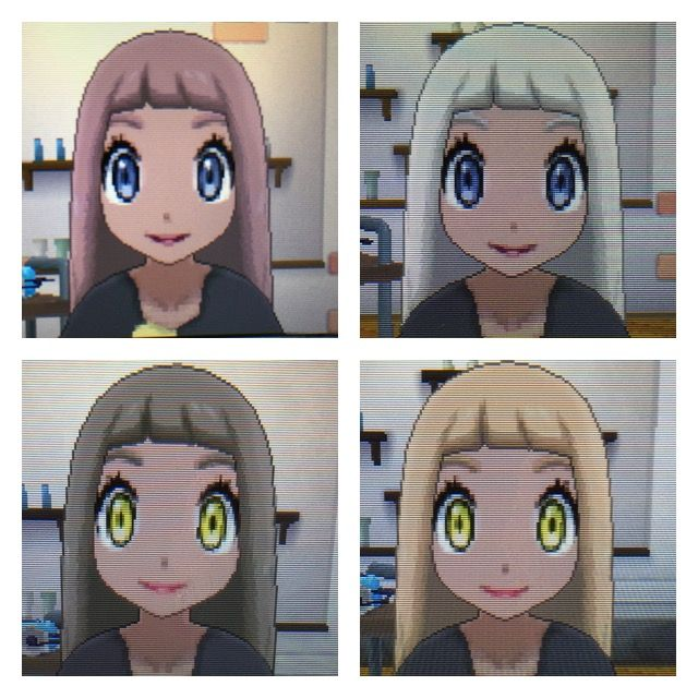 Pokemon Sun And Moon Character Looks Wanted To Show Some Hair Color Options With The Third Skin Color Pokemon Hair Color Options Pokemon Sun