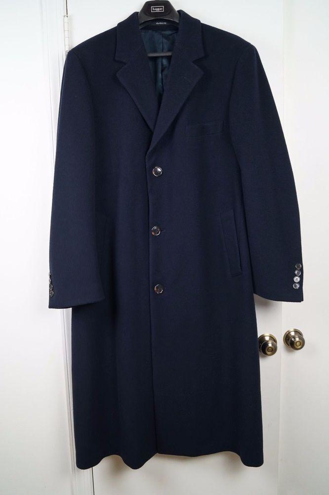 Ralph Lauren Mens 3/4 Dress Top Coat Overcoat Wool Navy Blue Mens ...