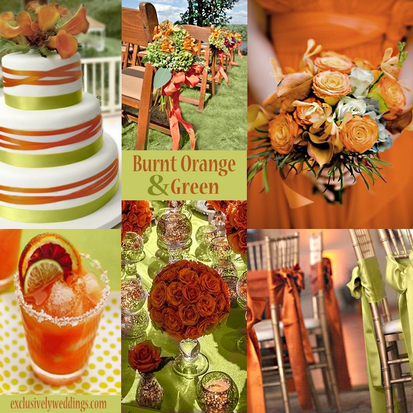 Burnt Orange And Green Wedding Colors Exclusivelyweddings Weddingcolors