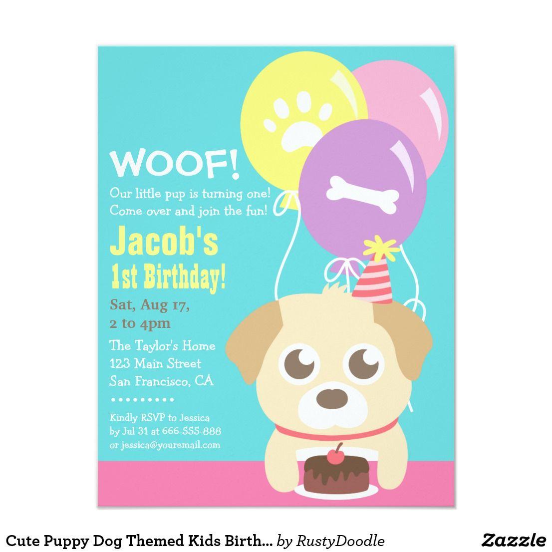 Cute Puppy Dog Themed Kids Birthday Party Invitation | Birthdays