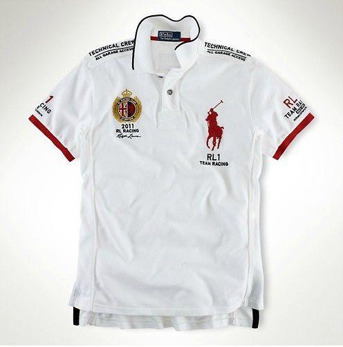 Men\'s Custom Fit RL Racing Polol in White