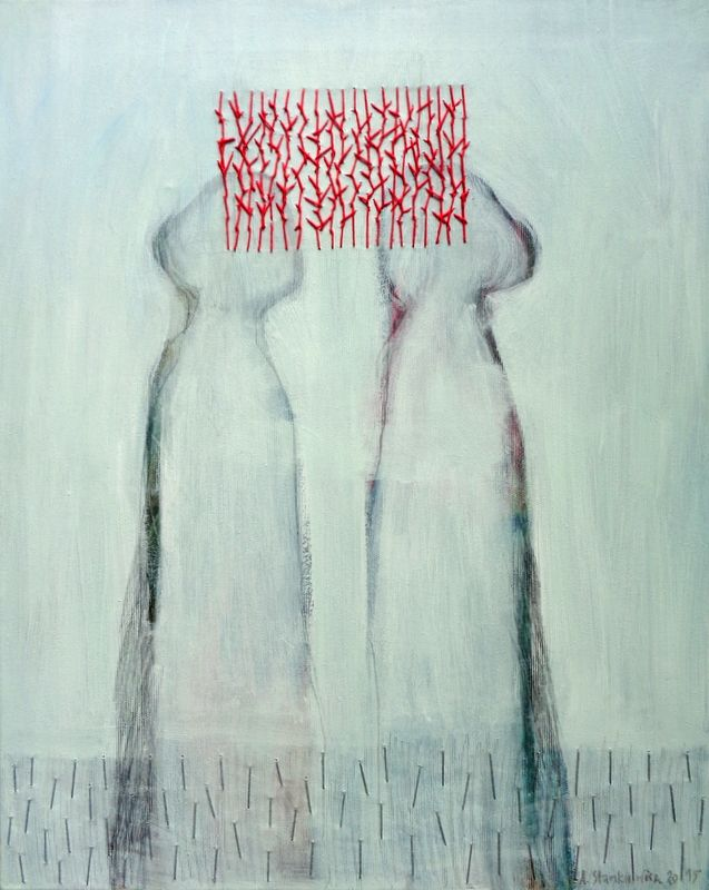 "acrylic,embroidery on canvas ""Difficult Conversation"" http://annastankiewicz.blogspot.pt/"