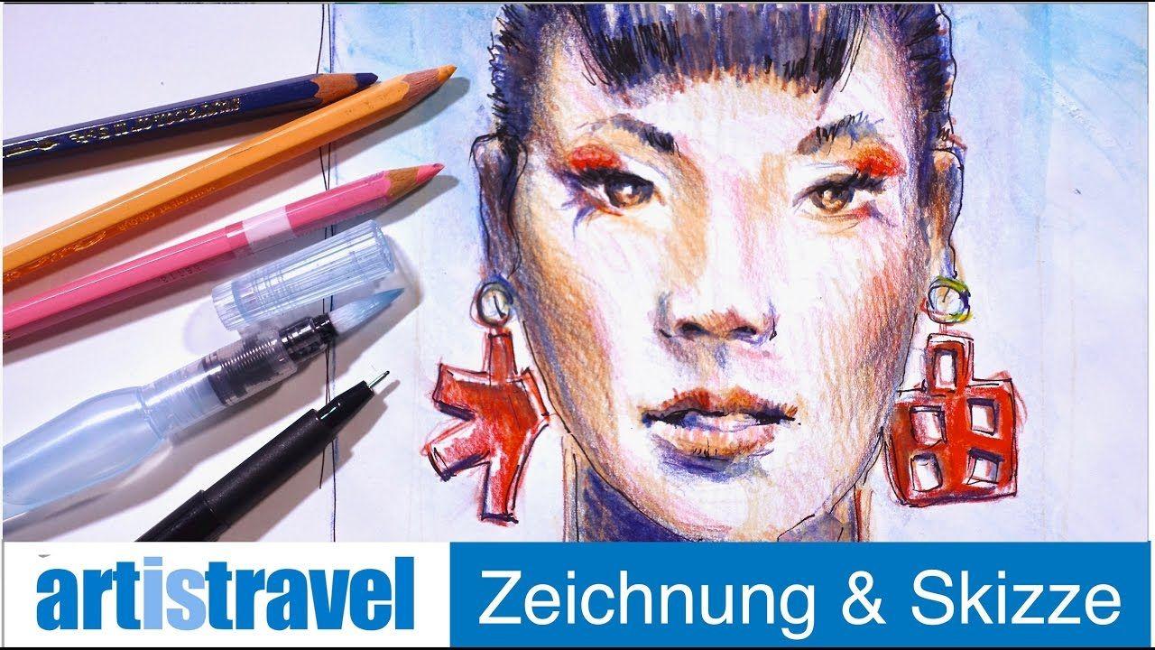 Gesicht Mit Aquarellstiften Ganz Einfach Zeichnen Lernen 19