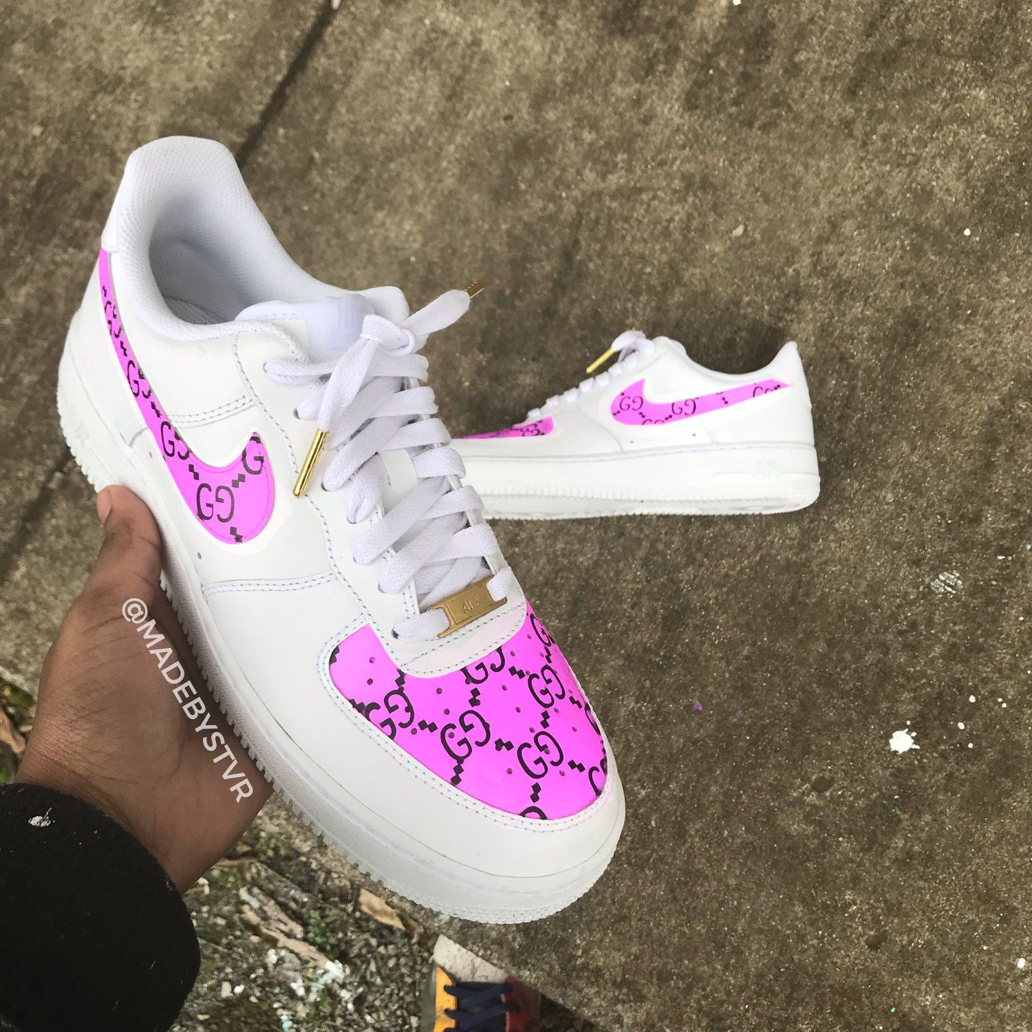 """Image of AF1 LOW """"GG PINK"""" Aesthetic shoes, White"""