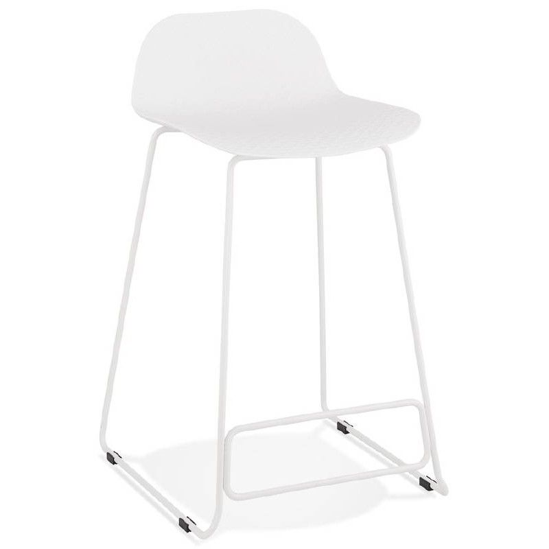 Tabouret De Bar Chaise Mi Hauteur Design ULYSSE MINI Pieds Mtal Blanc