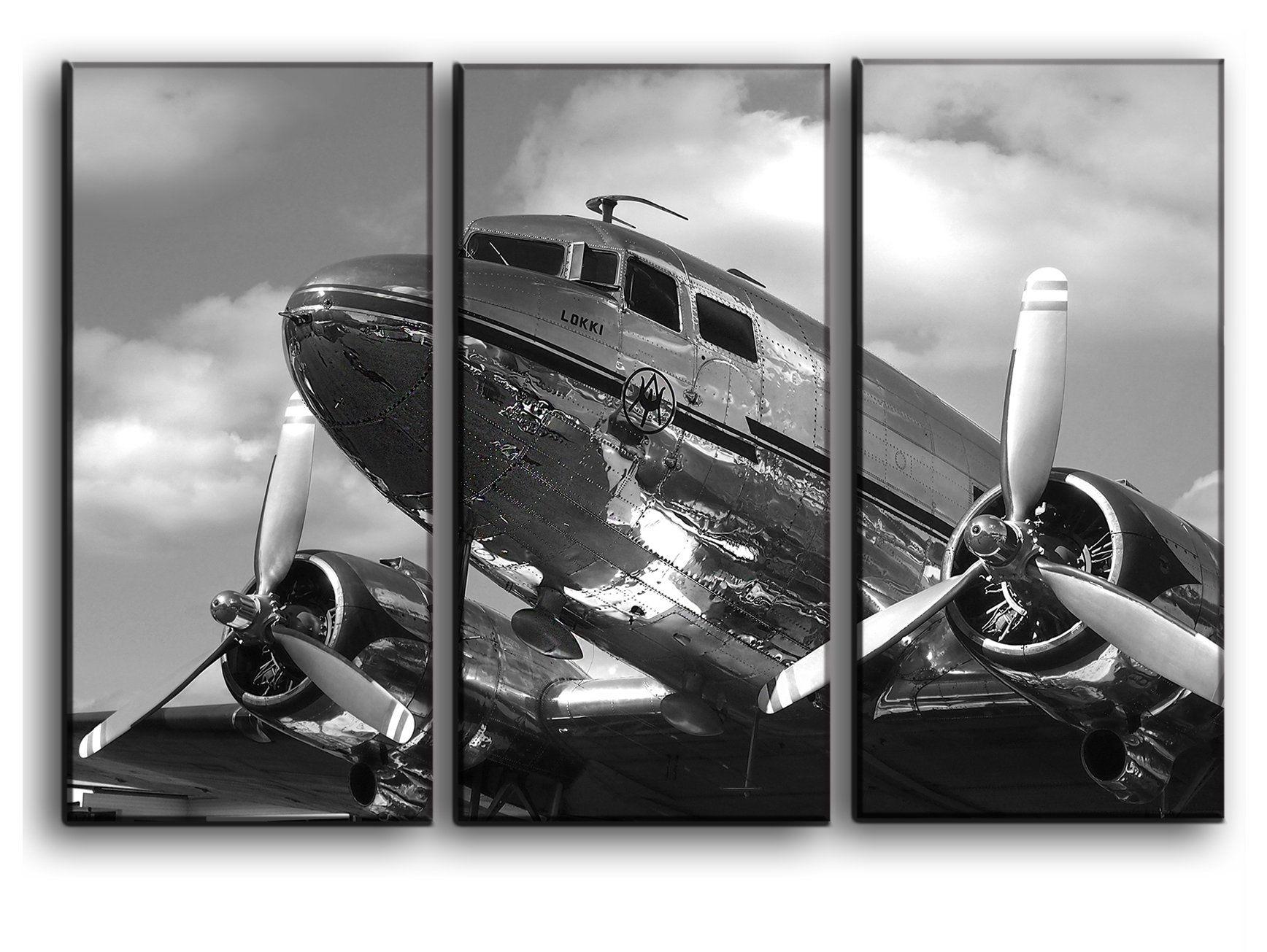 3 Panel Dc3 Dakota Airplane Canvas Art Aircraft Canvas Wall Art Vintage Plane Picture Propeller Wall Canvas Art Wall Home D Propeller Wall Wall Art Art