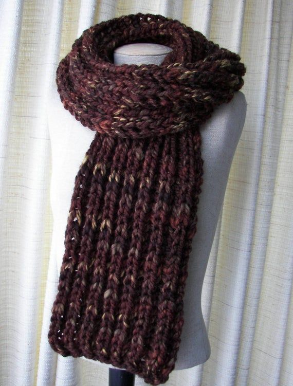 Photo of Hand Knit WARM Soft Long RIB Scarf in BROWN Sequoia  Acrylic Wool / Brioche knit scarf / Oversized k