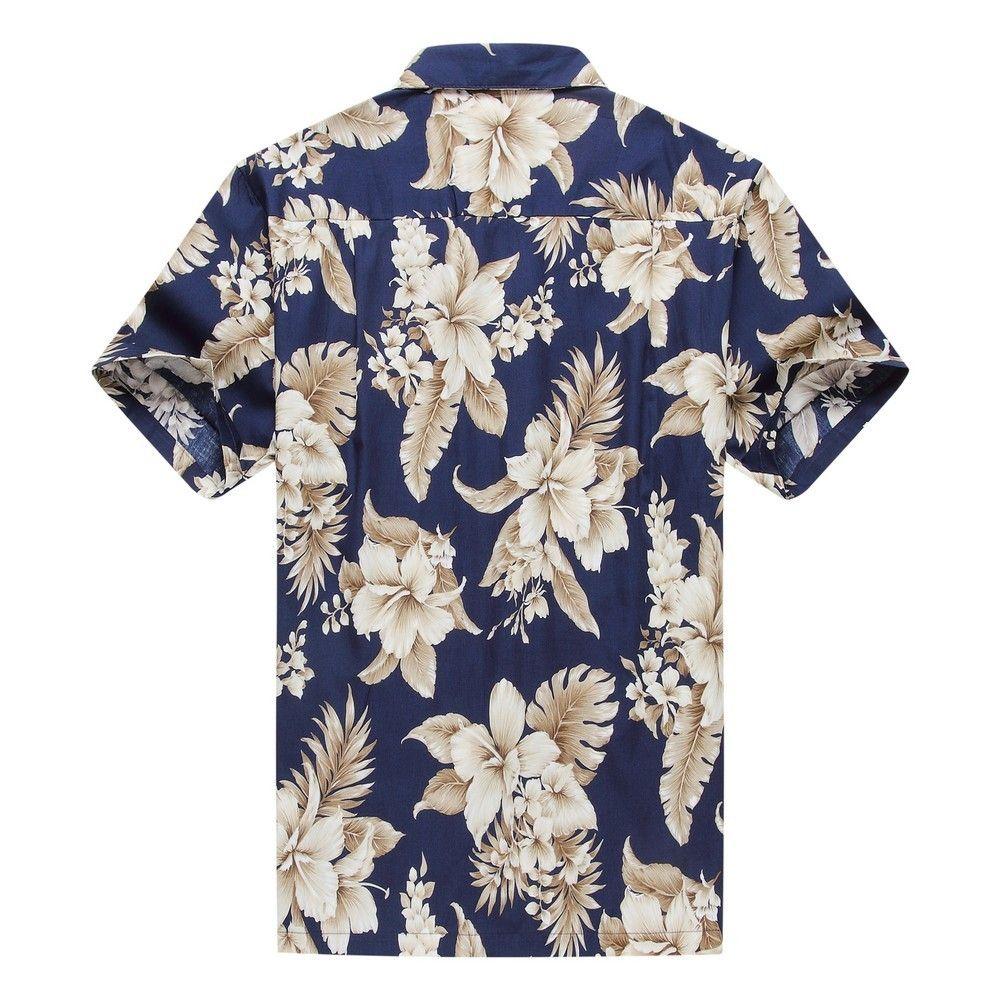a15ebe04 Made in Hawaii Men's Hawaiian Shirt Aloha Shirt Floral Cluster Navy Gold