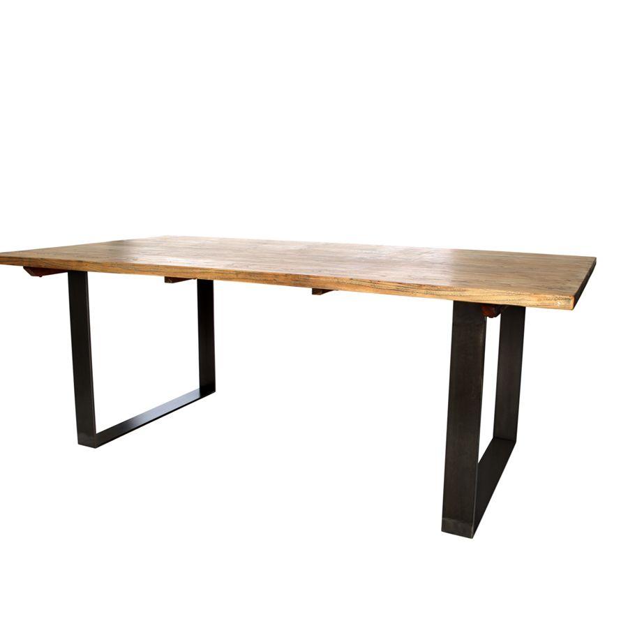 Mesa de comedor de madera. Mesa comedor madera reciclada y forja ...