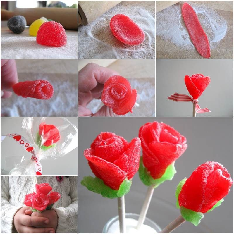How to make a flower bouquet with gum drops candy flowers diy diy ...