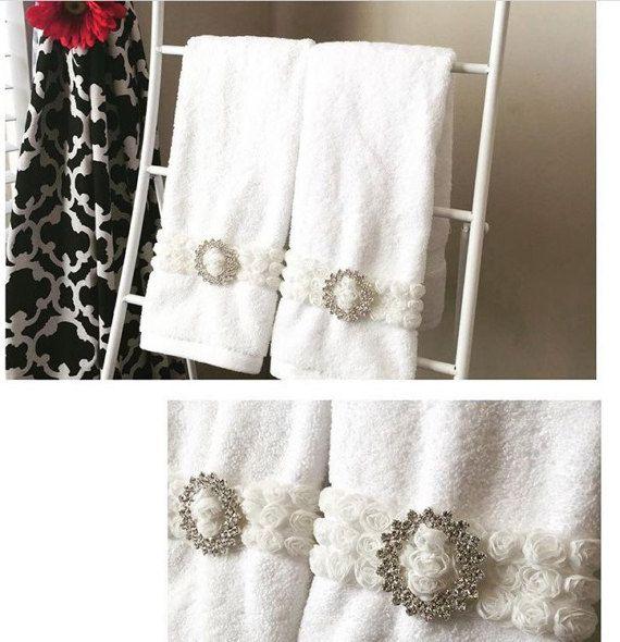 Rhinestone Rose Bath Hand Towel White Towels Shabby Chic Rose