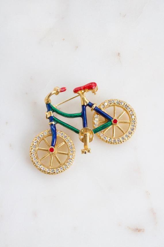 b04c2ab1686 Vintage Rhinestone Bicycle Brooch - Bike Brooch - Multi Color Bicycle Brooch