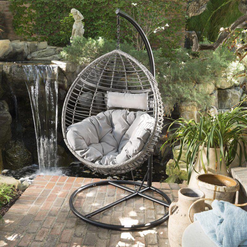 Weller Outdoor Wicker Basket Swing Chair With Stand Swinging