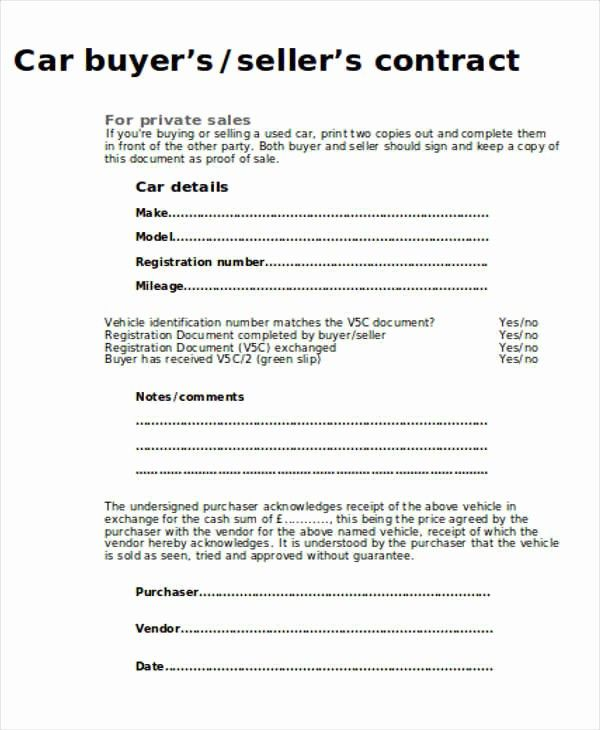 Private Car Sale Contract Template New 12 Sample Car Sales Contracts Contract Template Sell Car For Sale Sign