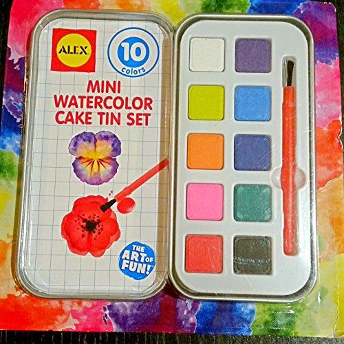 Original Alex Watercolor Mini Cake Tin Set 10 Colors With 1 Brush