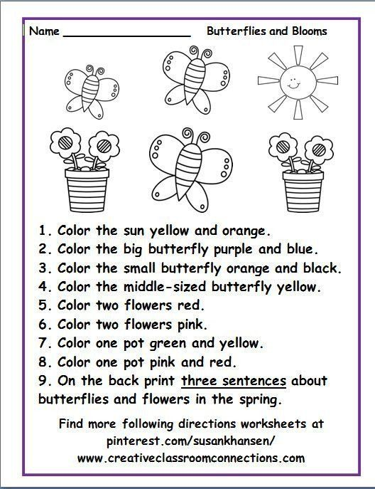 Following Directions Worksheets For Kindergarten Free Following Directions Wor Following Directions Worksheets Directions Worksheet Follow Directions Worksheet
