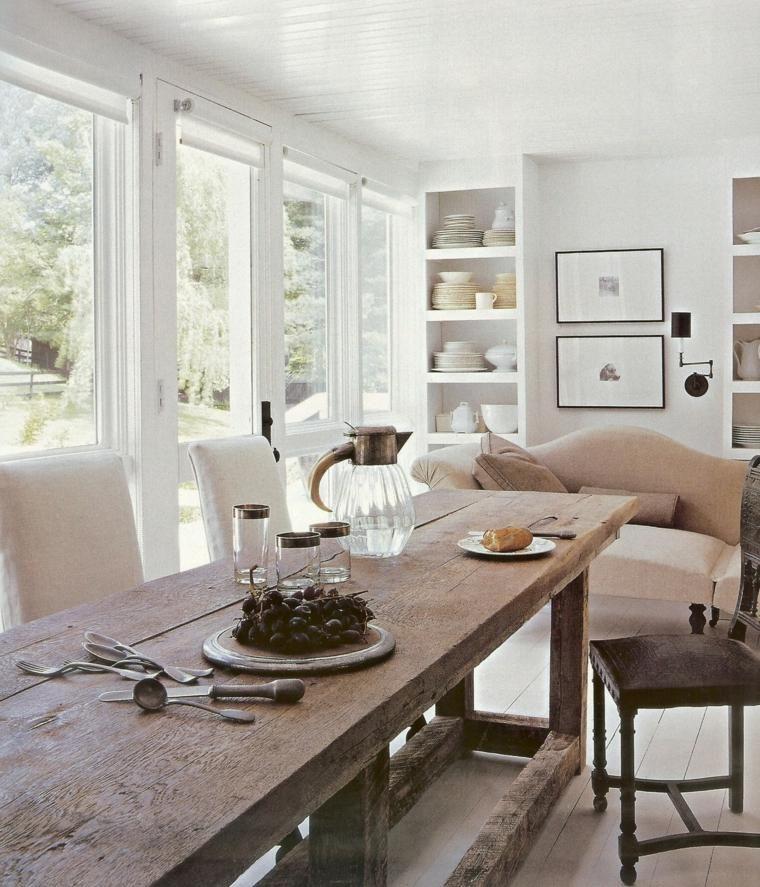 Décoration salle à manger table bois maison campagne