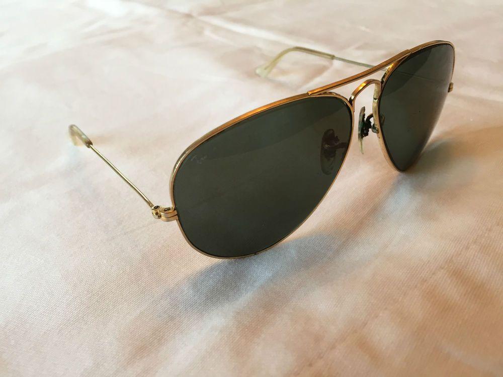 7cff05ca67e Vintage RAY BAN Gold Aviator Sunglasses - Bausch   Lomb B L   58014  RayBan   Aviator
