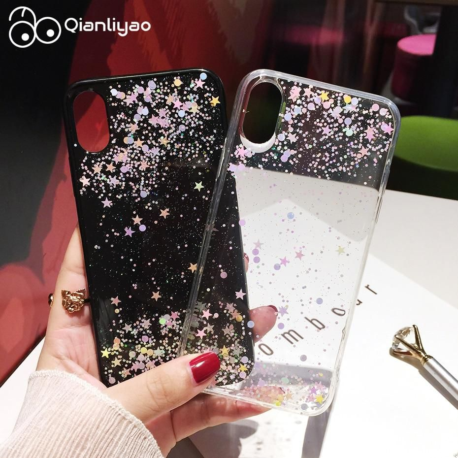 Qianliyao Simple Transparent Bling Glitter Stars Circle Cover Case For –  KOREAIDOLFEVER 16f952d93
