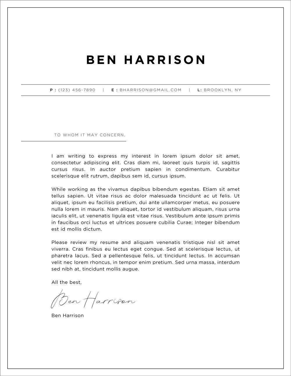 Cover letter design services, resume design template