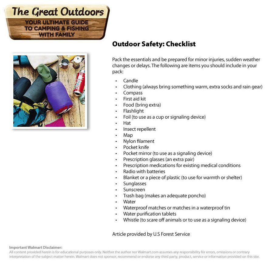 Outdoor Safety Checklist Outdoor Safety Family Outdoor