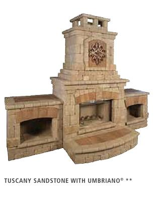 The Tuscany™ Series Modular Outdoor Fireplace Units By Unilock