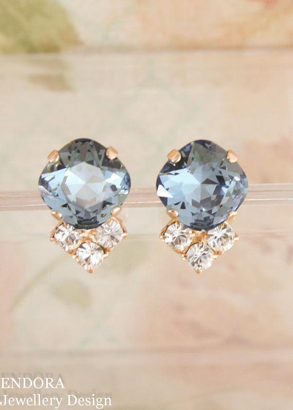 Something Blue Bridal Earrings Wedding Rose Gold Swarovski 12mm Square Denim