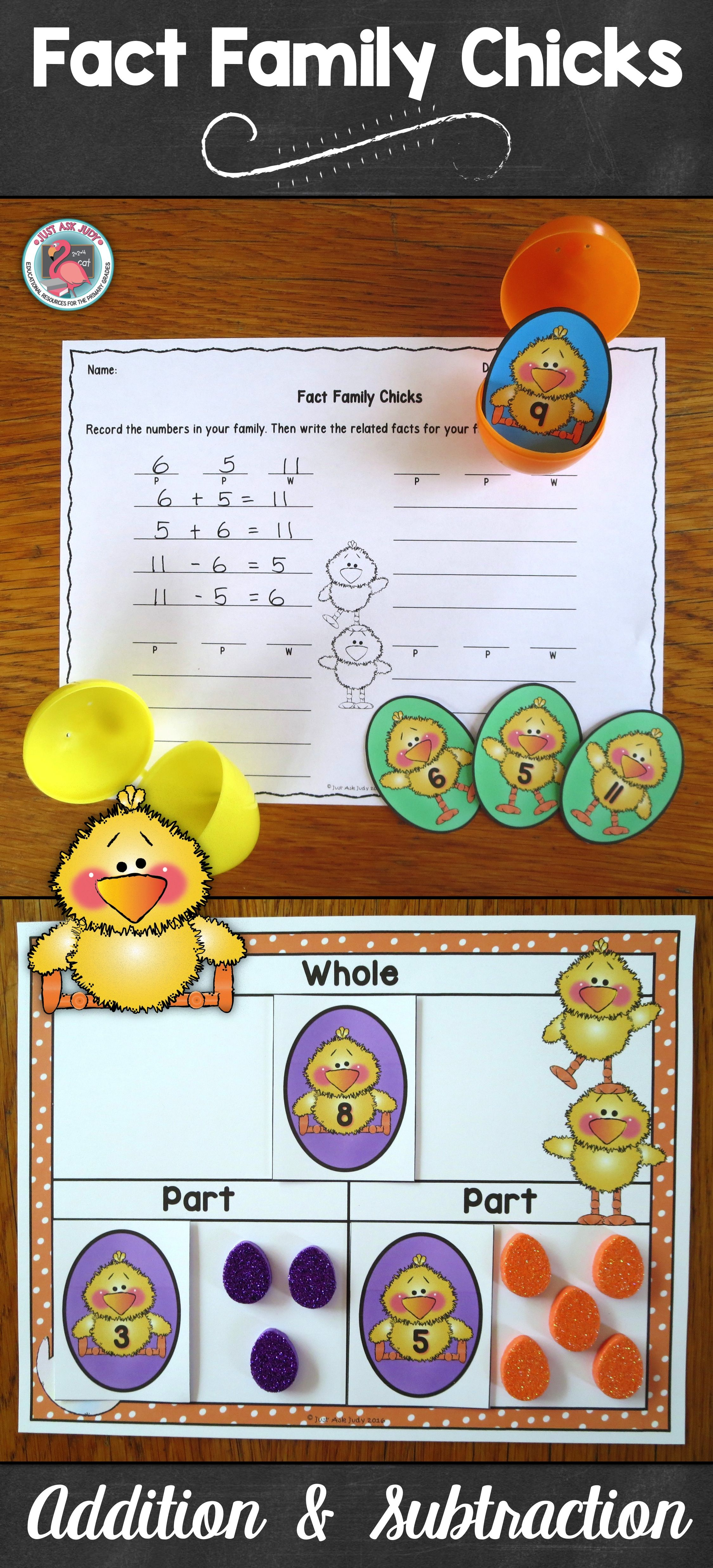 This Easter Spring Themed Math Resource For First And Second Grades Provides An Engaging Way For Your Studen Addition And Subtraction Holiday Math Easter Math Related addition and subtraction facts