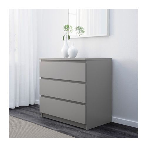 malm commode 3 tiroirs gris gris 80x78 cm idees salon s jour pinterest malm gris gris. Black Bedroom Furniture Sets. Home Design Ideas