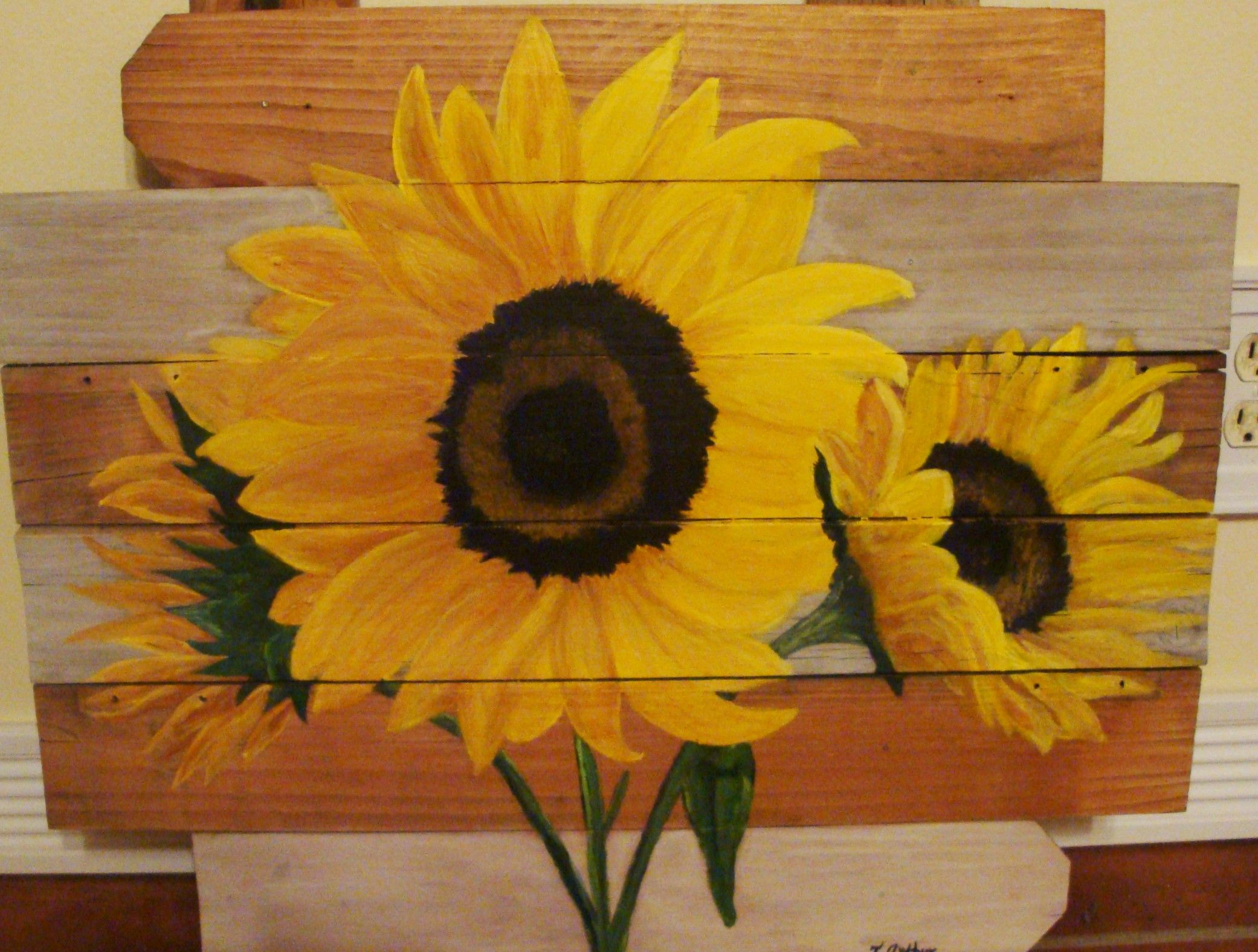 sunflower wall art created by me T.Arthur...made from repurposed ...