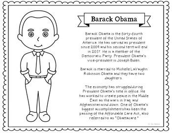 President Barack Obama Coloring Page Craft or Poster with Mini