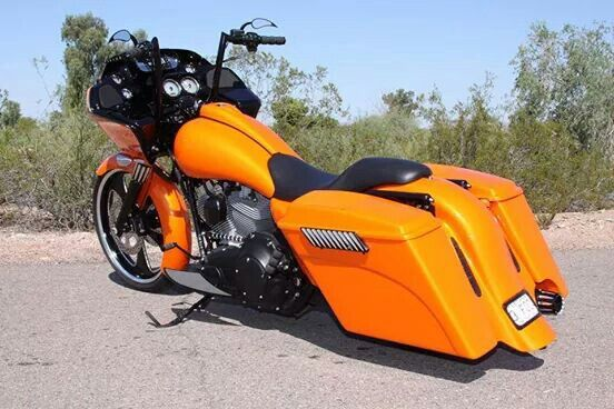 Burnt Orange Bagger Harley Davidson Bikes Harley Bobber Bagger