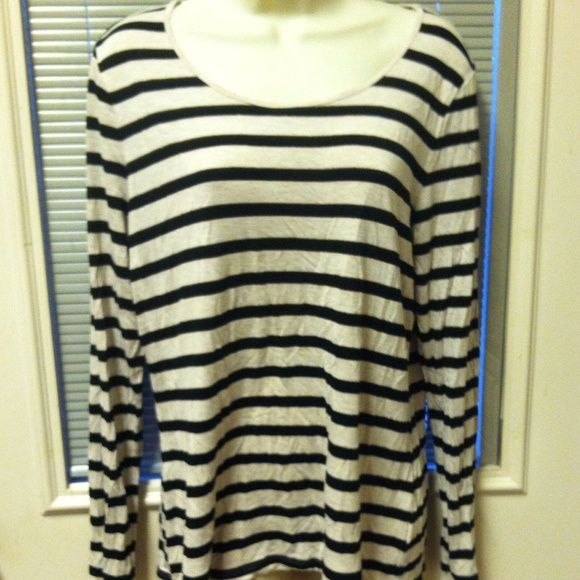 "GREAT STRIPPED "" APT 9"" TOP!! Black, white, and gold stripped top.  Long sleeves with a boat neck!! Apt. 9 Tops"