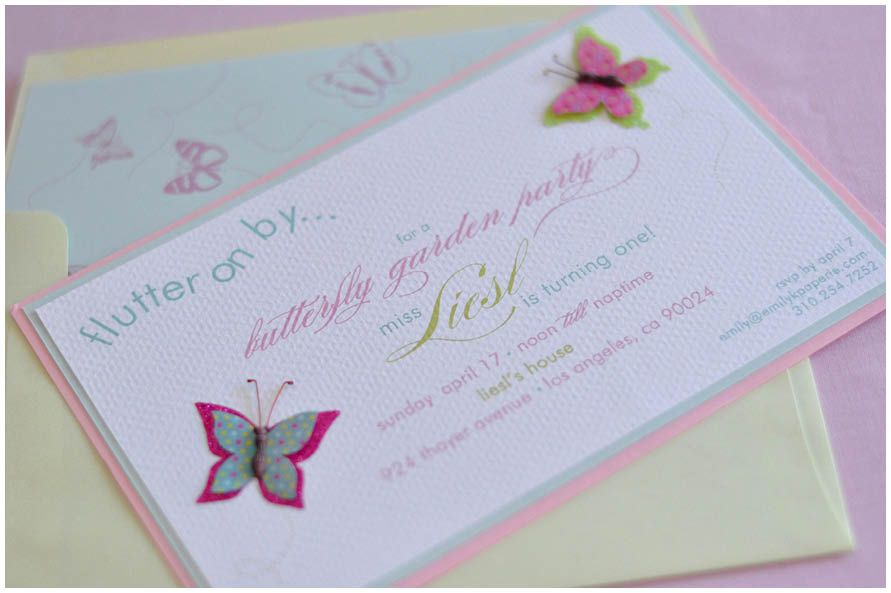 butterfly birthday invitation Madelynu0027s butterfly party - invitation for 1st birthday party girl