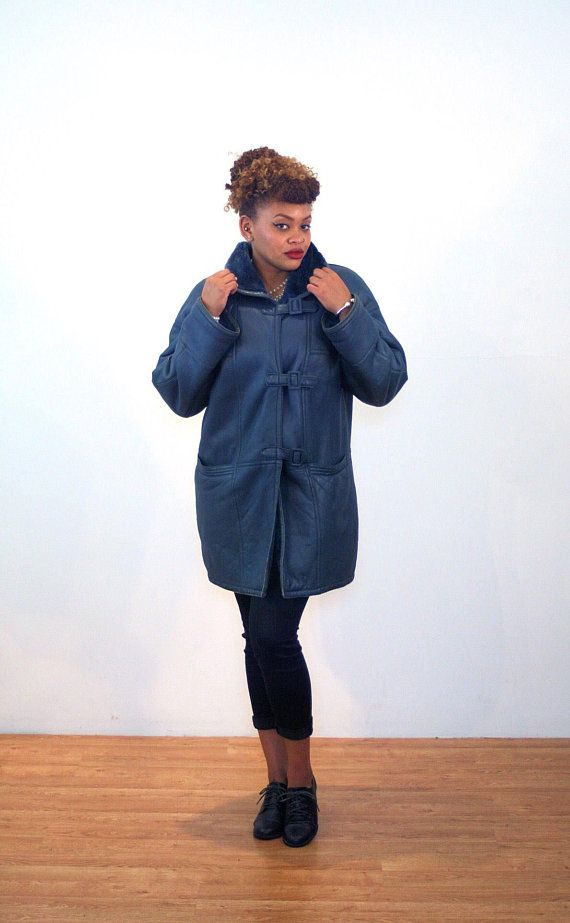 e6b99fc756 70s Blue Shearling Coat L