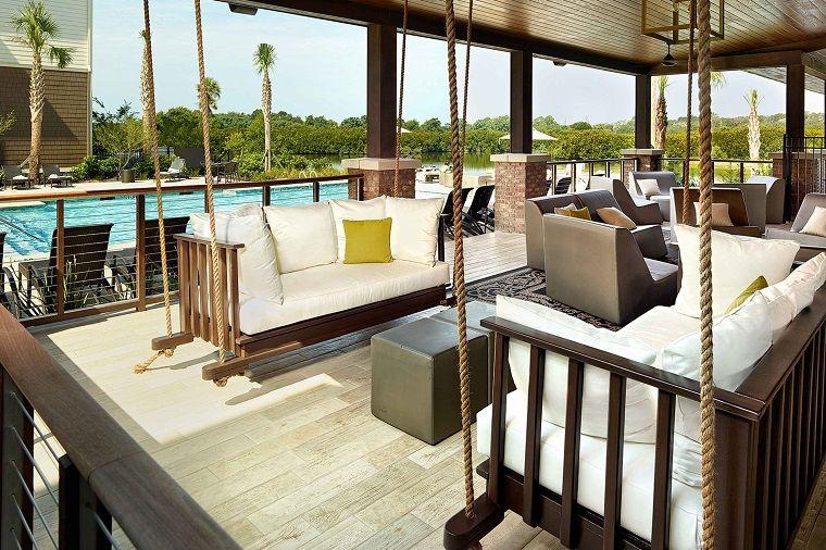 idea moderna muebles colgantes en la terraza jardin Pinterest