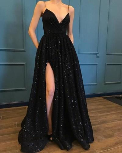 Photo of black spaghetti-straps sleeveless full length school event dress,sequins v-neck slit-skirt long prom dress from Sweet Baby