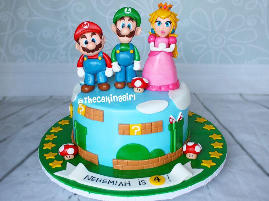 Super Mario And Luigi Princess Peach Birthday Cake Mario