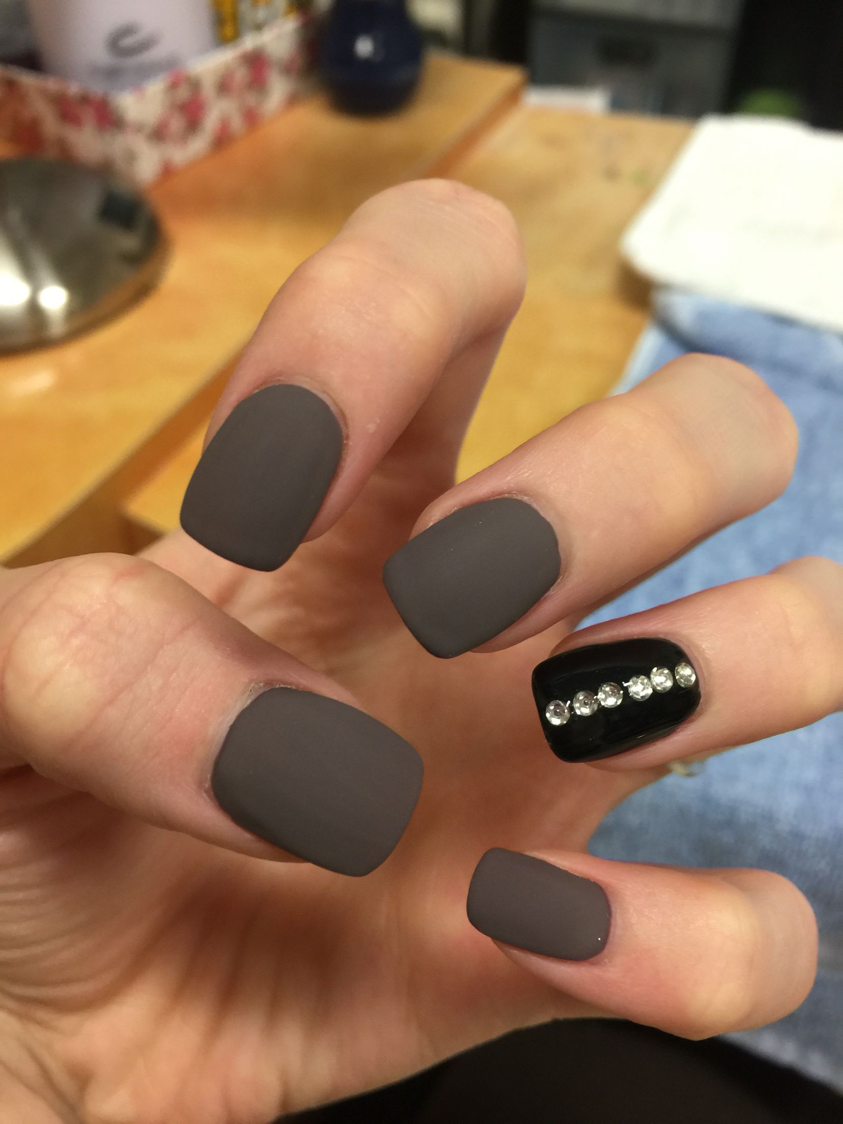 Matte Nails With Black Ring Finger And Rhinestone Design So Cute