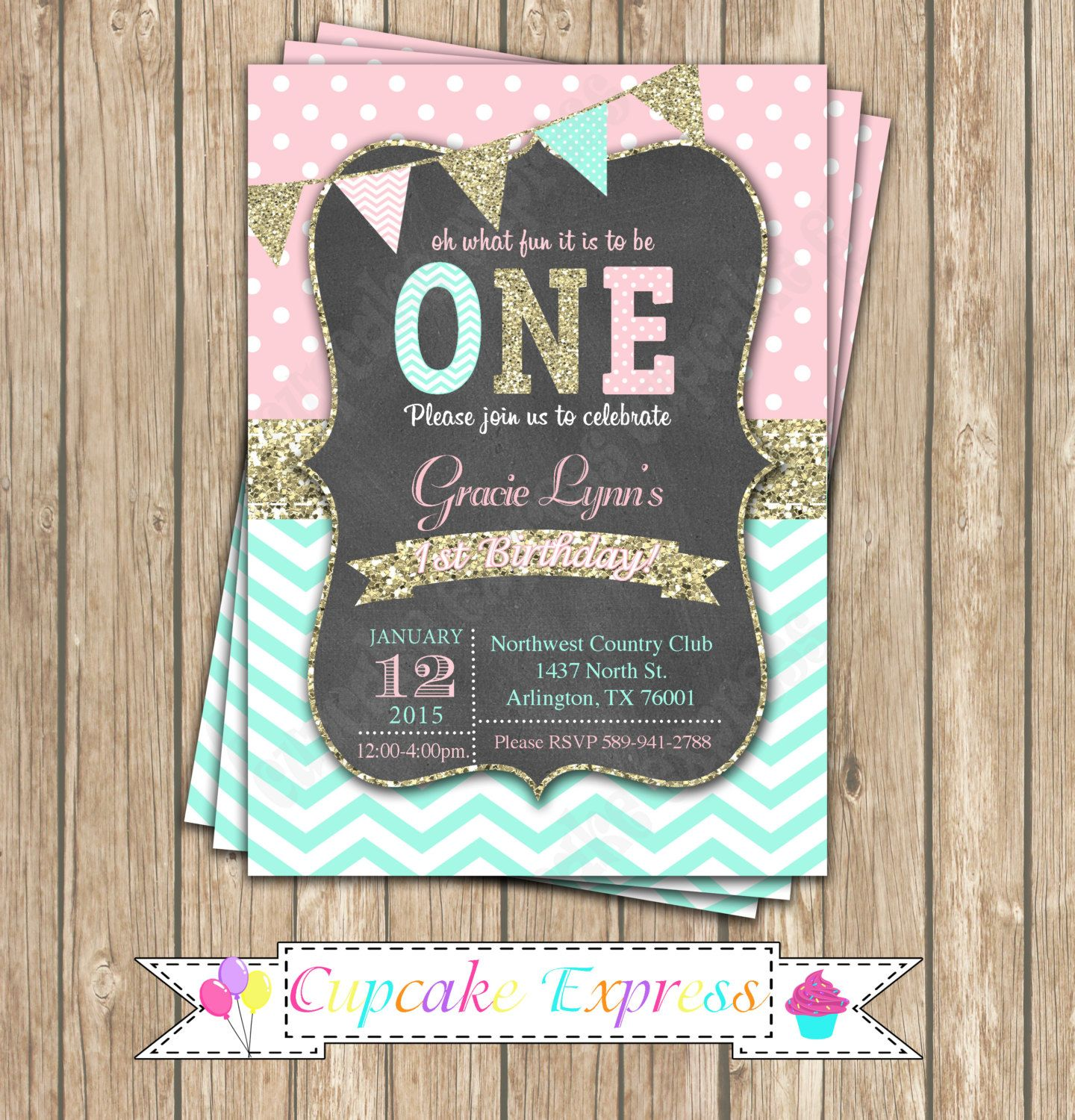 First Birthday Party In A Box In Gold Mint And Pink: Girls First Birthday Invitation, Pink Mint Gold Invitation