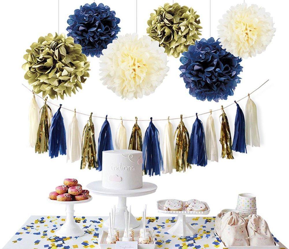 4585af5128d9 NAVY GOLD PARTY Decoration Set-Navy