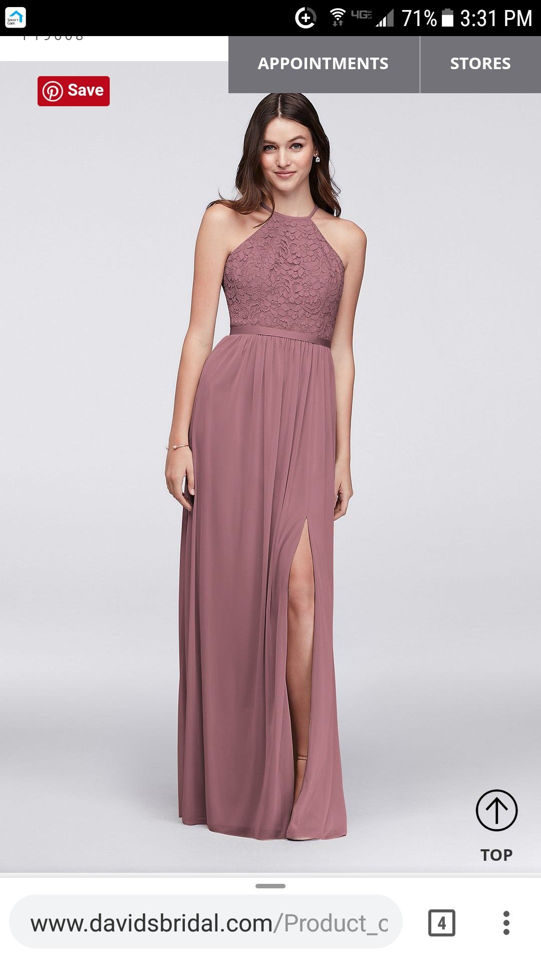 425fdff6644 Bridesmaid Dress idea from David s Bridal. Dusty Rose lace halter top. Size  10.