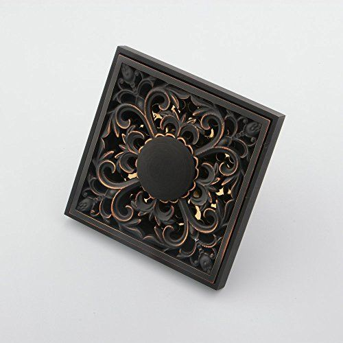 Hiendure Solid Brass Square Floor Drain Art Carved Shower Ground