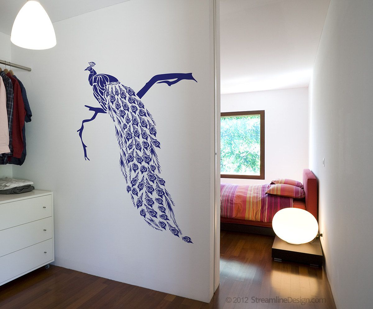 Lovely Big Beautiful Peacock Vinyl Wall Art Decoration.. $39.95, Via Etsy.
