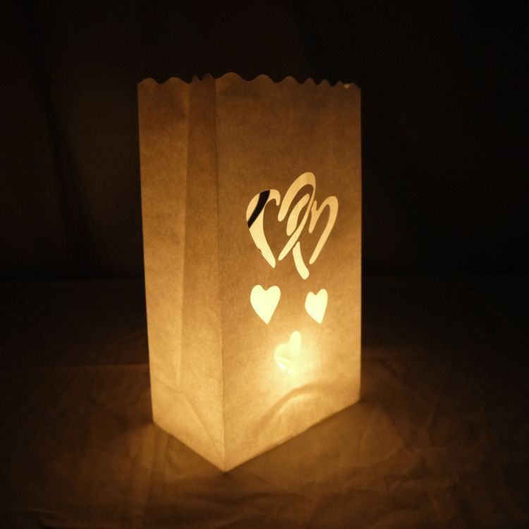 Double Heart Paper Luminaries Bag 10 Pack