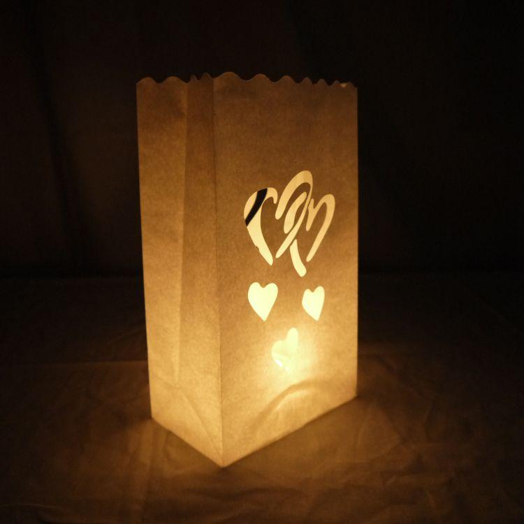 Double Heart Paper Luminaries Bag 10 Pack
