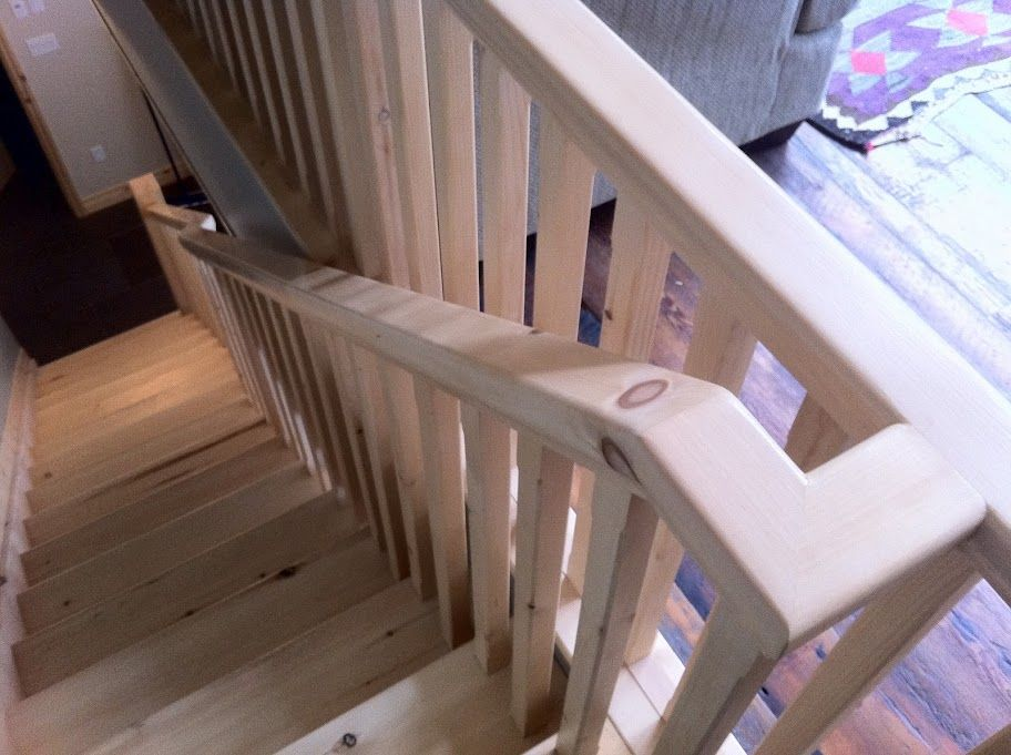 Best Solid Pine Handrail With Offset Www Gregbrownconstruction 400 x 300